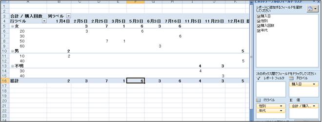 購入回数や年代別に表を変更してピボットテーブルを設定しよう。②