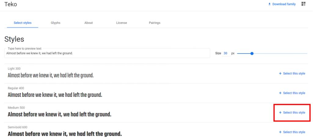 google fontのサイトから好きなフォントを選ぼう!③
