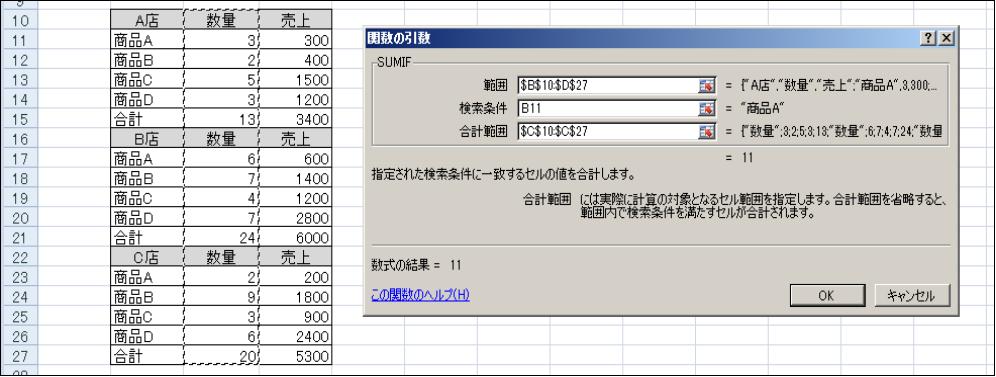 SUMIF関数の引数入力方法。①