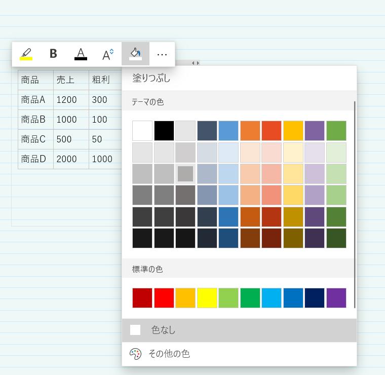 OneNote表の色の変更方法。