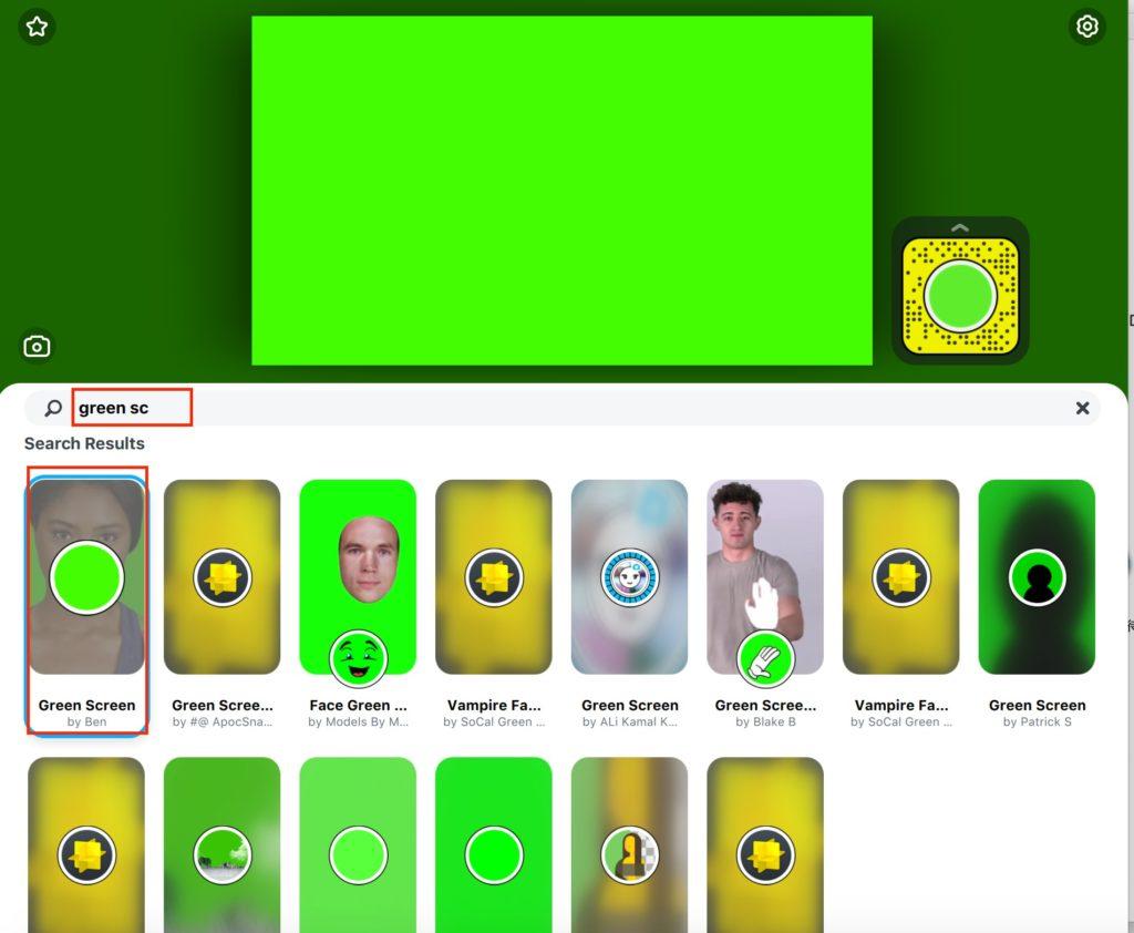 SnapCameraアプリ画面