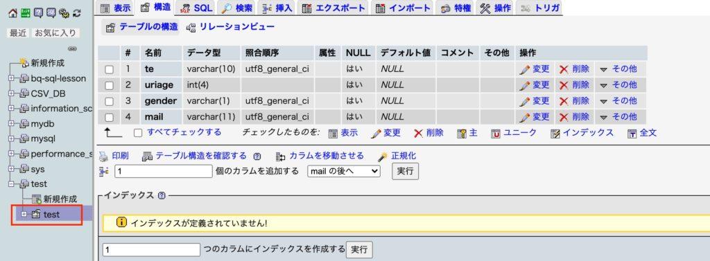 インポートが終了したデータベース画面