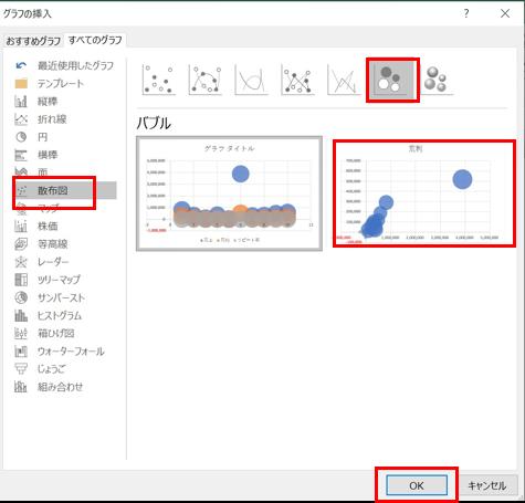 エクセルバブルチャート選択画面