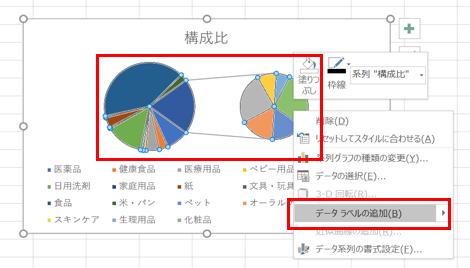 円グラフデータラベル追加方法